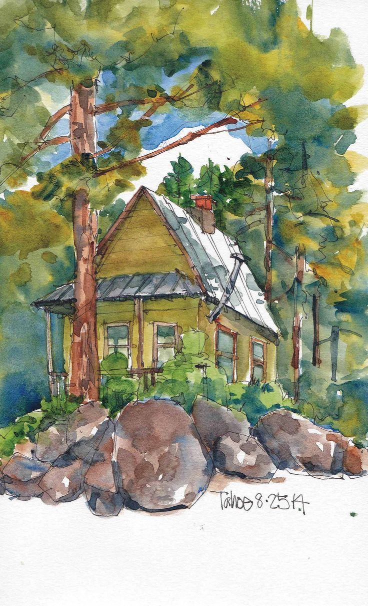17 best images about artwork cottages on pinterest for Watercolor cottages