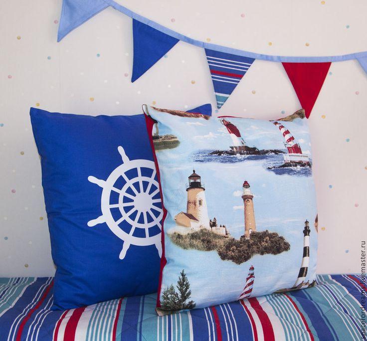 Купить Декоративные подушки в морском стиле хлопок - тёмно-синий, морская тема, морской стиль