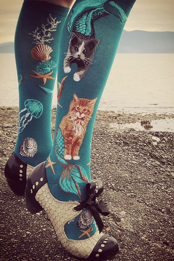 Purrmaid socks for women feature adorable cat-mermaid hybrids swimming  around other treasures of the sea  seashells 4814c57ea7