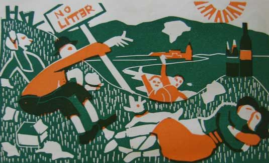 """""""English Picnic"""" by Claude Flight and Edith Lawrence (linocut)"""