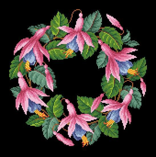 Vintage Fuchsia Flowers Wreath in 2 colors Pink and Orange Counted Cross Stitch
