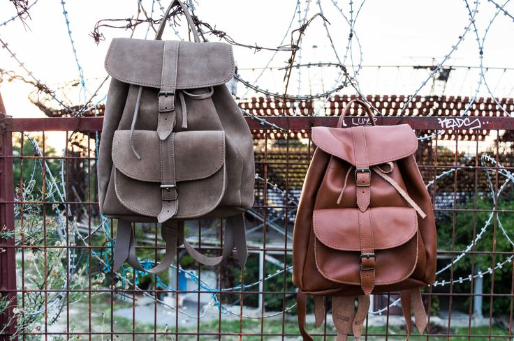 handmade leather back pack. Feel the love by Rena Xenou