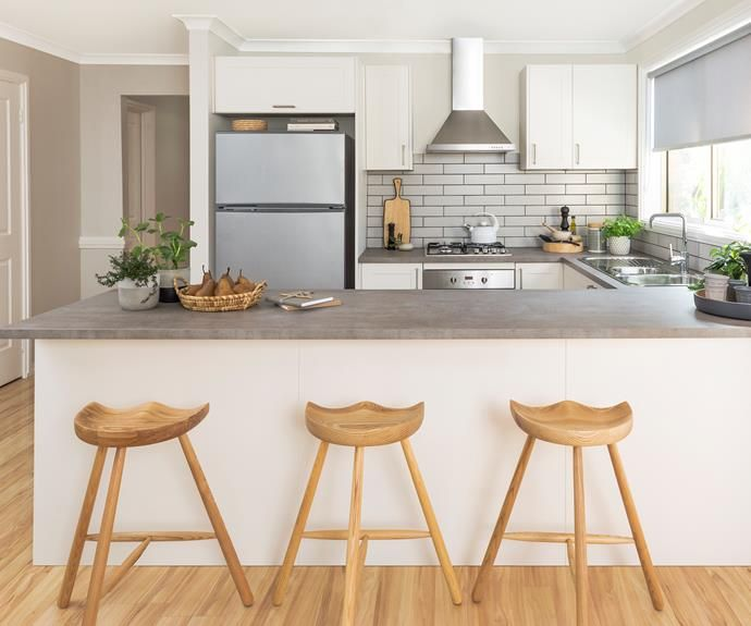 kaboodle laminate benchtop concrete look flatpack kitchen coastal kitchen design latest on kaboodle kitchen design id=44305