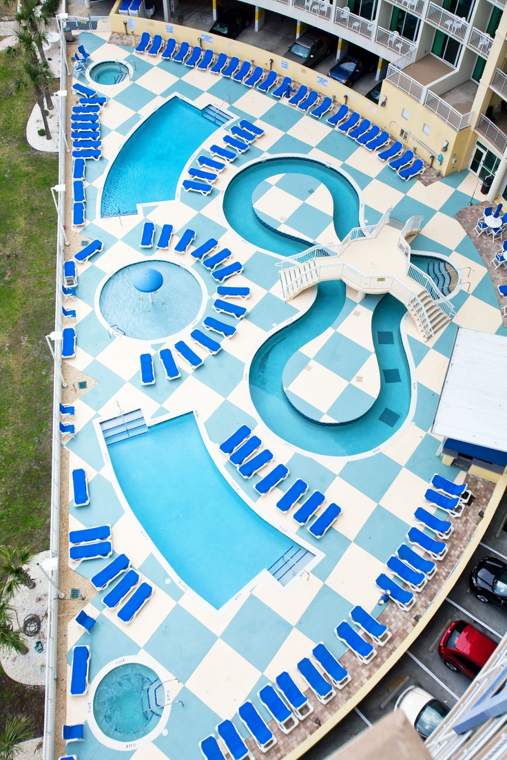 An aerial view of Avista Resort's many pools! North Myrtle Beach, SC