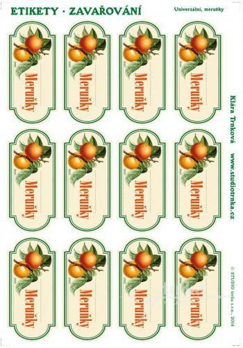 Samolepicí etikety, zavařování meruňky