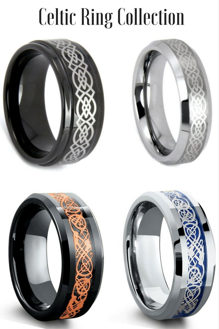 Mens Celtic Tungsten Wedding Rings. I love all these celtic rings. Some of the celtic rings have dragon designed and carbon fiber inlays. I might just have to get two of these celtic wedding rings.