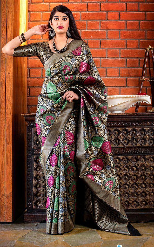 banarasi silk weaving jecard saree with blouse for women designer saree saree dress indian saree black saree wedding saree sari