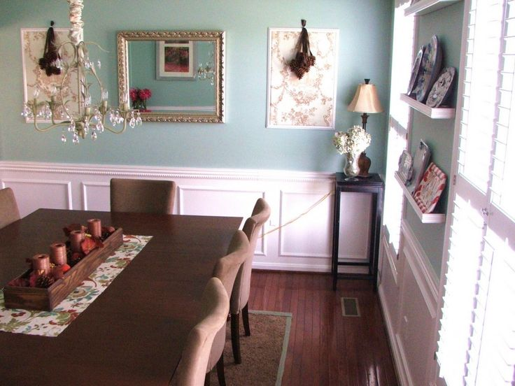 Dining Room Decoration Fine Looking Wall Mount Open Shelves At Blue Wall Painted And White Wainscoting Panels Also Corner Shade Table Lamp And Midcentury Dining Set In Blue Dining Room Decor With Cou