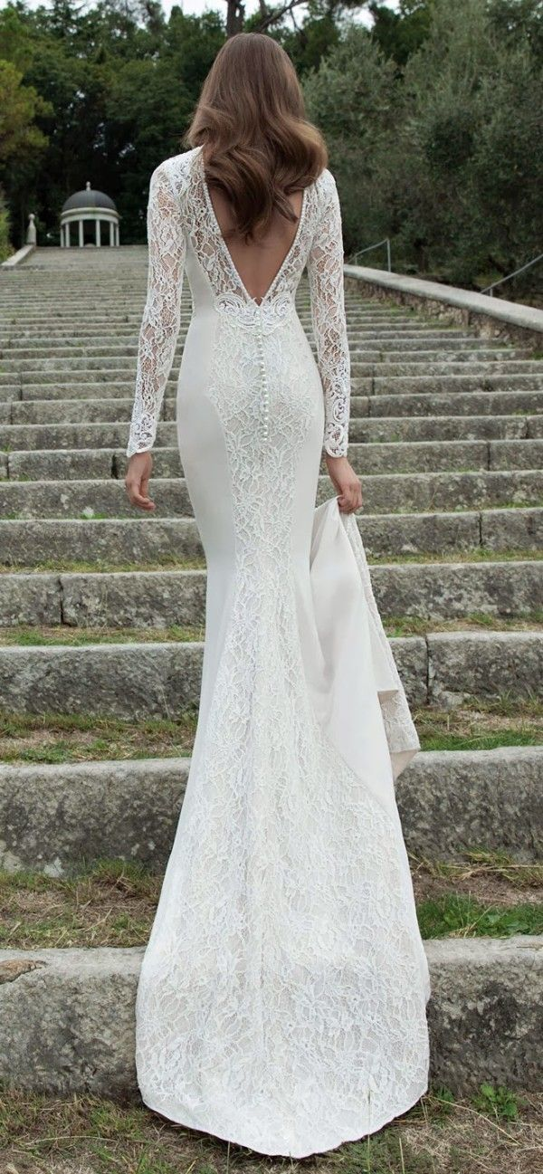Berta winter v-neck back mermaid wedding dress with long lace sleeves / http://www.deerpearlflowers.com/long-sleeve-wedding-dresses/2/