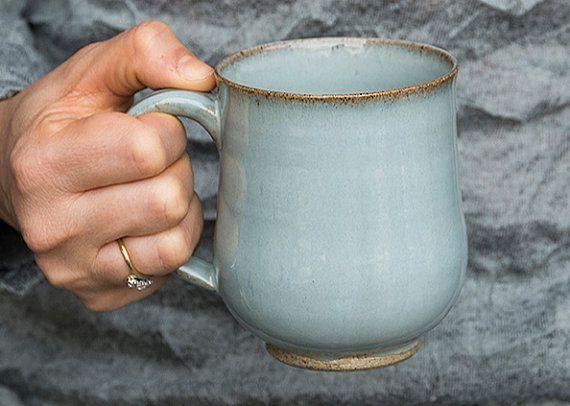 Lligh Blue Pottery Mugs / Stoneware Coffee Mugs by MadAboutPottery