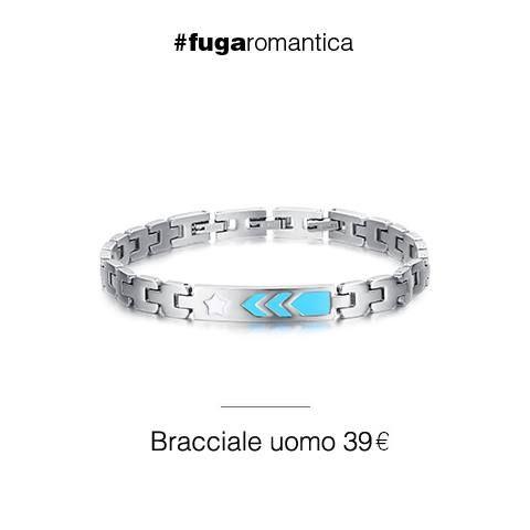 Bracciale in acciaio con smalto azzurro e bianco Luca Barra Gioielli. #bracciale #gioielliuomo #style #fashion #lucabarragioielli
