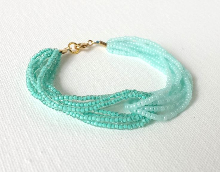 Multi-strand seed bead bracelet in mint . . . . ღTrish W ~ http://www.pinterest.com/trishw/ . . . . #handmade #jewelry #beading: