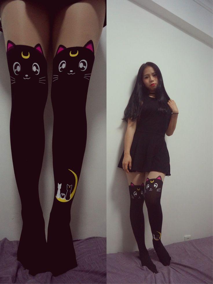 """Купить товарJanpan аниме сейлор мун Luna кошка косплей черный шелковый чулок милый костюм для девушка носок в категории Носочно-чулочные изделияна AliExpress.        Janpan Аниме """"сейлор мун"""" Luna кошка косплей черные шелковые чулки милый костюм для девушка носок"""