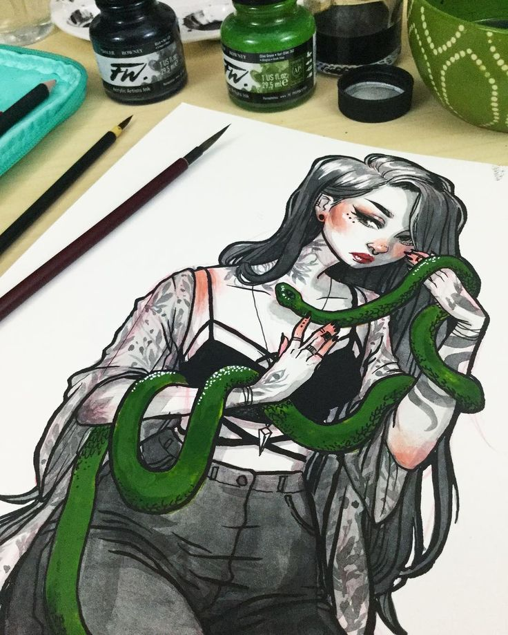 "jacquelindeleon: "" Inktober day 4: Snake Charmer✨ I had so much fun drawing this one, currently editing the process video!!! I will definitely be making prints of her! how's everyone's inktober going?  Materials: kuretake menso brush, speedball 512..."