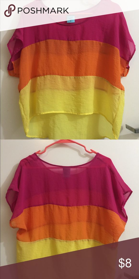Semi-sheer hi lo bright blouse Semi sheer neon hi low blouse provides a great pop of color! Sized medium, with the perfect oversized look, can definitely fit a large. Super great for dressy casual events. happening in the present Tops Blouses