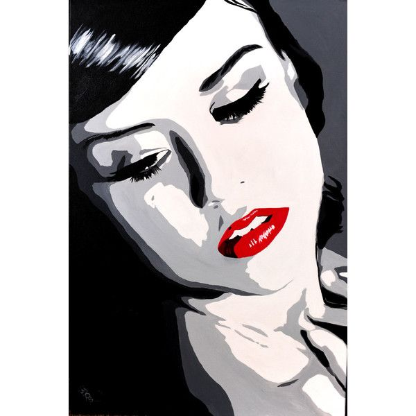 b/w Pop art portrait painting with red lips canvas print ($75) ❤ liked on Polyvore