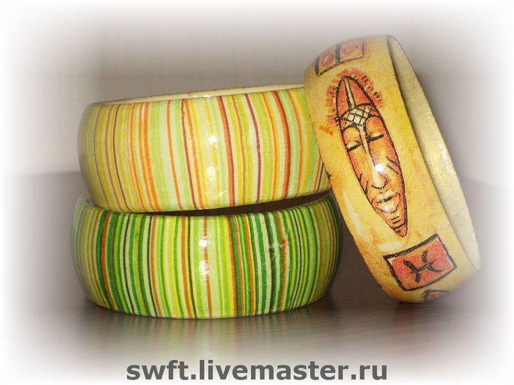 Купить Деревянные женские браслеты Полосатики Желтый зеленый оранжевый солнце - африканский стиль