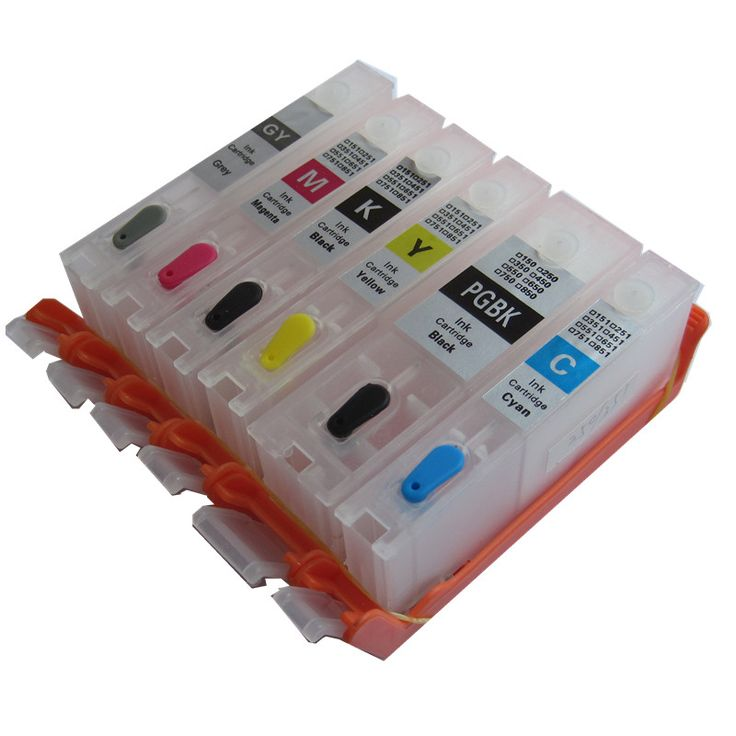 PGI-450BK CLI-451BK C M Y GY 6 COLOR refillable ink cartridge for canon PIXMA MG6340 MG7140 IP8740 printers empty  #Affiliate