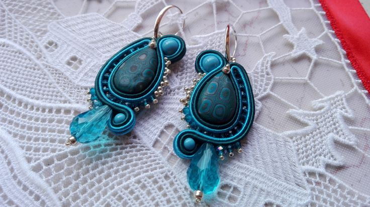 EARRINGS TURQUOISE DROP,turquoise earrings, dark teal,silver,winter,woman accessories,handmade jewelry,made in Italy,soutache earrings, ooak di MuciddosBeads su Etsy