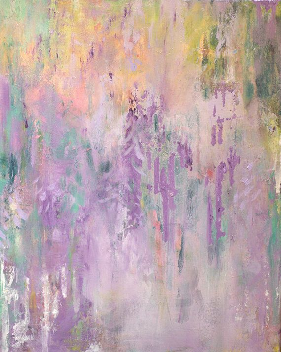 Serene Wisteria Abstraction in Radiant Orchid-- Modern Abstract Art