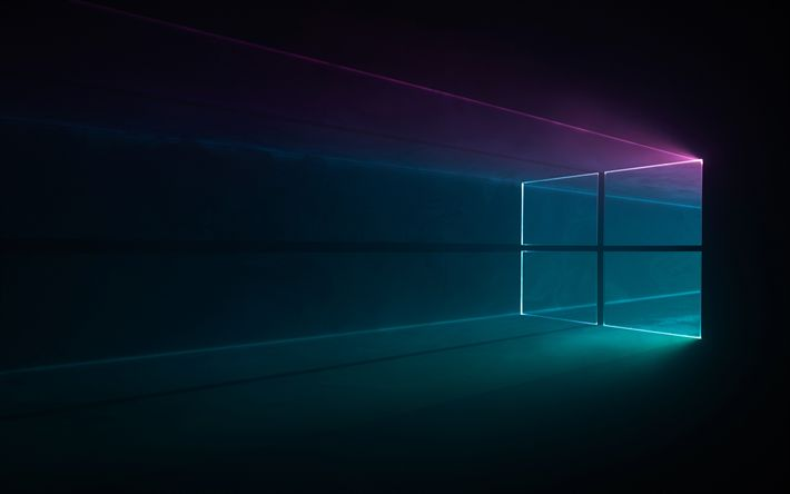 Download wallpapers darkness, windows 10, neon lights, creative, Microsoft