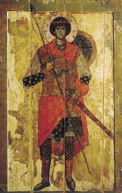 Novgorod icons. Saint George. Temple icon of Saint-George Cathedral in Yuryev monastery near Novgorod. 1130–1140-s. State Tretyakov Gallery