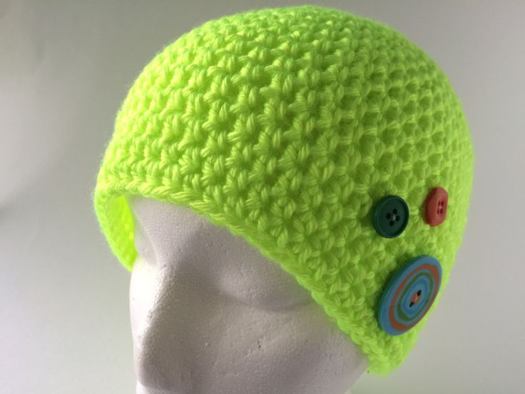 1-5 years Flourescent Yellow Beanie with buttons by hunnibeecrafts on Etsy