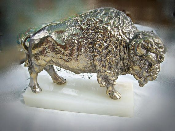 WHITE BISON FIGURINE Silver Plated Brass with Marble Base