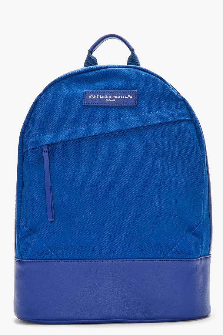 Nanamica cordura 174 twill cycling backpack in green for men blue - Want Les Essentiels De La Vie Royal Blue Canvas And Leather Kastrup Backpack