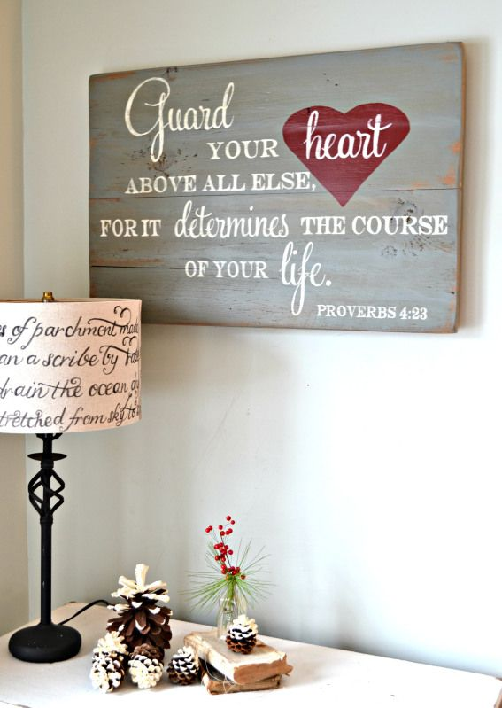 Guard your heart above all else, for it determines the course of your life. || wood sign by Aimee Weaver Designs