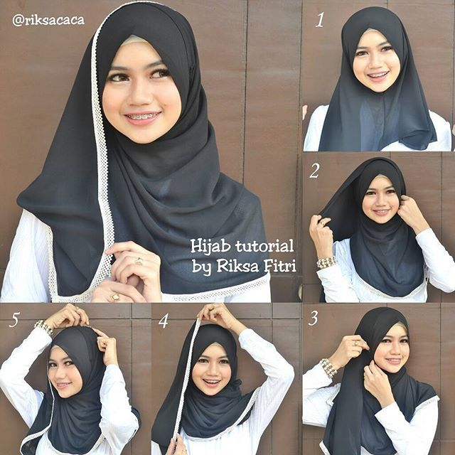 This is a beautiful black hijab lined with a beautiful lace white touch, it looks gorgeous and simple to create. With no further here are the steps for this look: 1. Place the hijab on your head with a long…
