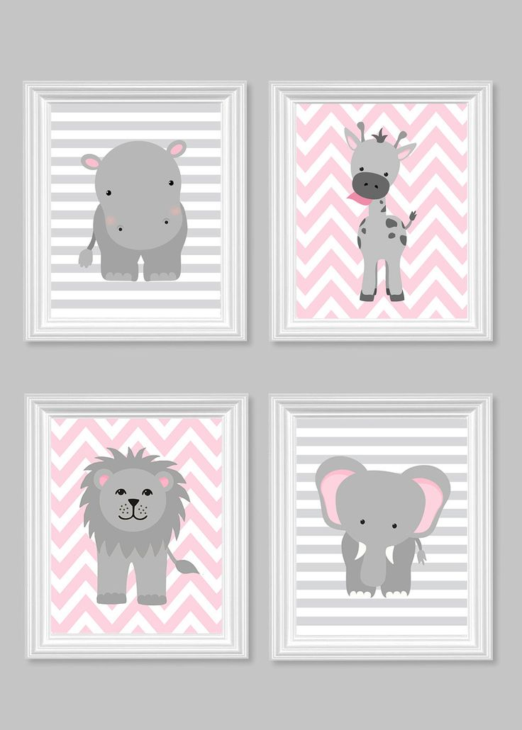 Girl's Room Decor, Gray and Pink, Girl Zoo Nursery, Safari Nursery, Jungle Nursery Decor, Hippo, Giraffe, Elephant, Lion, Quad, Canvas Art by SweetPeaNurseryArt on Etsy