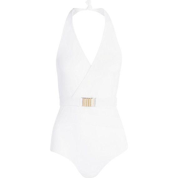 Trend: weiße Swimwear! Dominica Neckholder-Badeanzug mit Gürtel