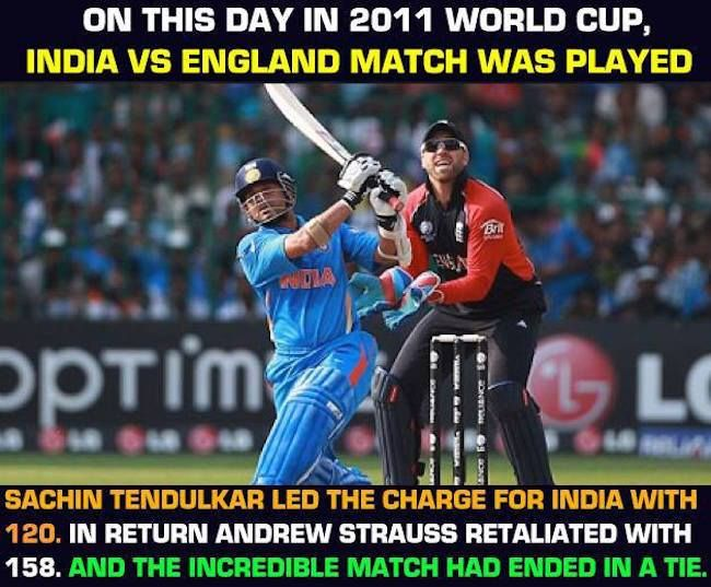On 27th February 2011 India and England tied a World Cup classic fit in Bangalore - facebook.com/MyCricketTrolls