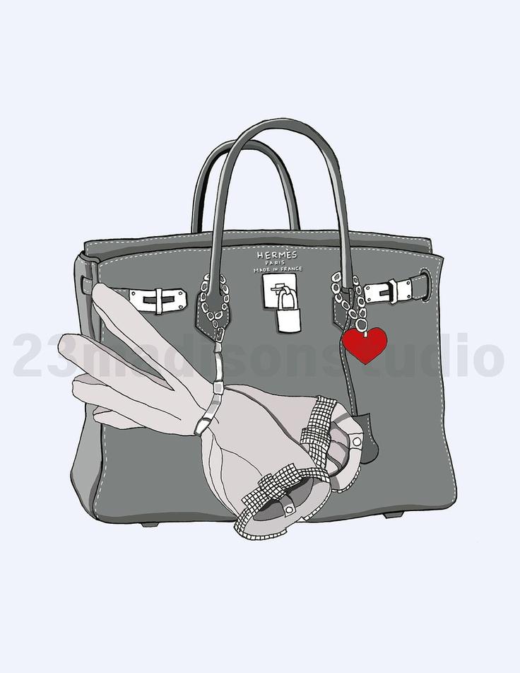 Gray Hermes Birkin bag illustration. $15.00, via Etsy.