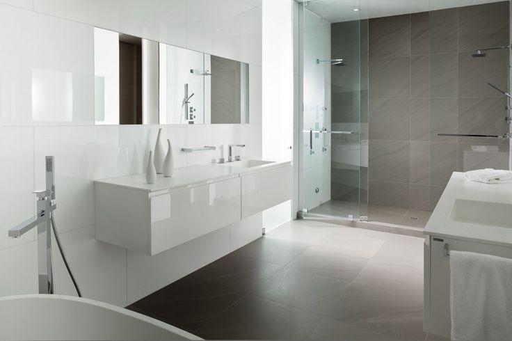 Bathroom, Modern Single Rectangular Bathroom Sink On Free Standing White Vanities And Square Mirror As Well As Sliding Glass Frameless Door ...