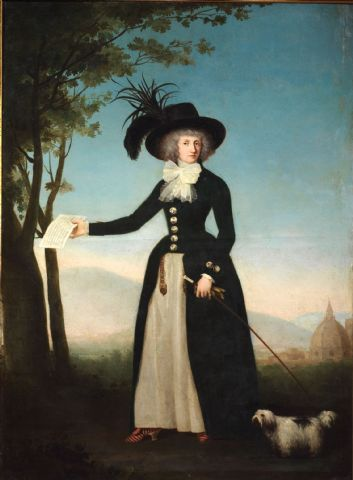 Portrait of a lady in a black redingote by Louis Gauffier,c. end of 18th c.