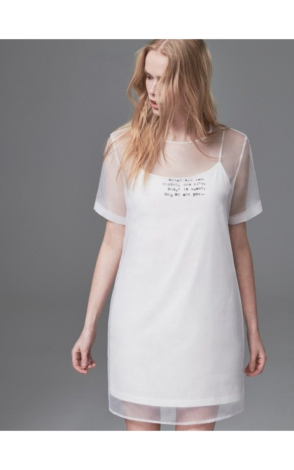 Sukienka z organzy, Sukienki, kombinezony, biaŁy, RESERVED