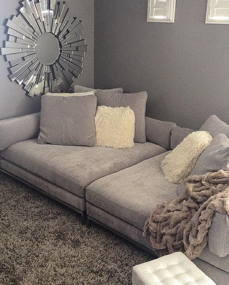I Love This Wide Sofa Living Room Makes Lounging Extra Luxurious Styled With Our Ventura Sectional Empire Mirror Ludlow Pillows Oslo Throw