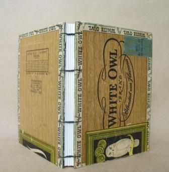 White Owl cigar box book from Useful Books http://www.usefulbooks.etsy.com/ http://www.flickr.com/photos/usefulbooks/sets/72157623395510695/  #upcycled #handmade_books