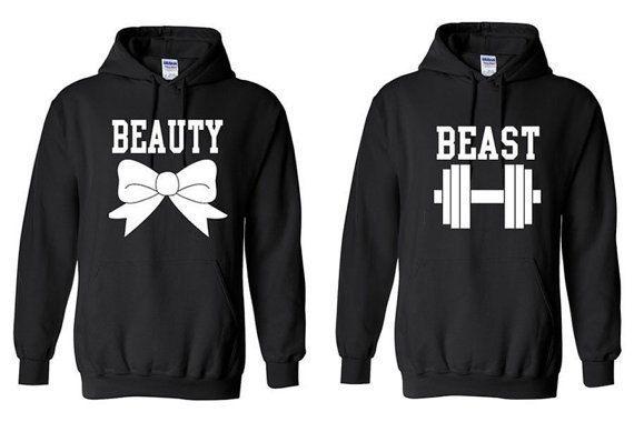 Die schöne und das Biest Hemden - paar-Hoodies - passende Hoodies - Training Hoodies - Gym-Hoodies - Pullover