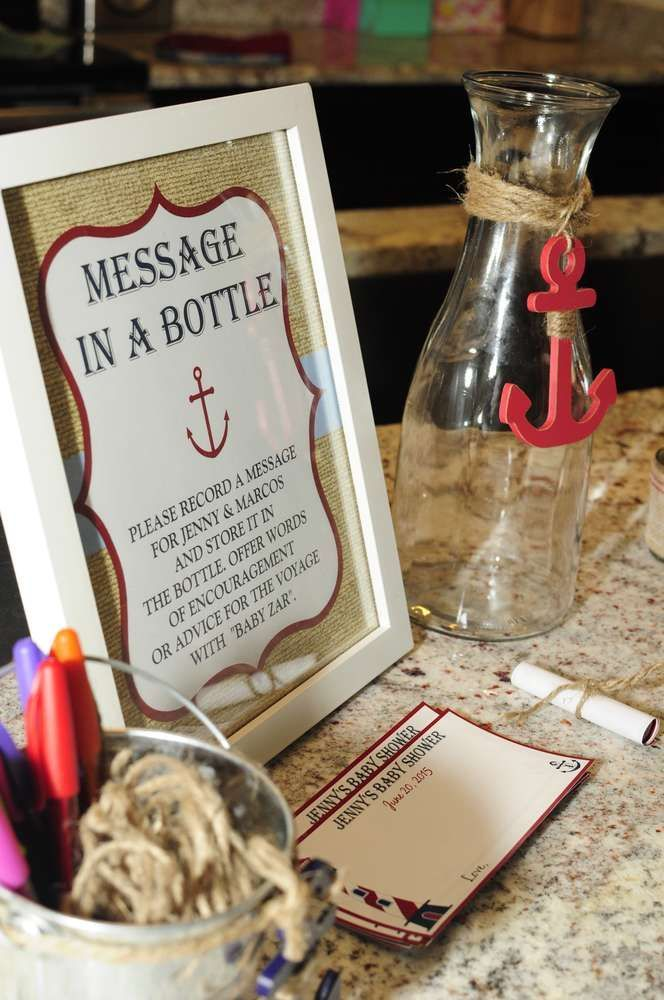 Nautical Baby Shower | CatchMyParty.com Message in a Bottle Games / Activities Ideas