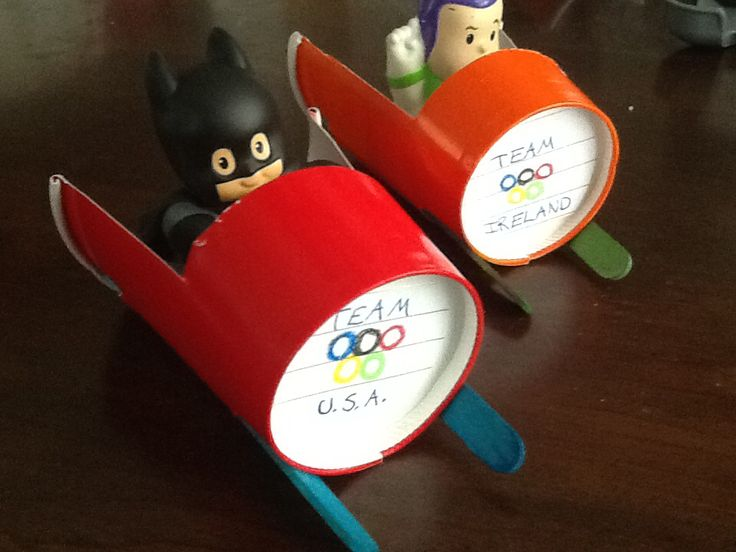 Olympic play paper cup bobsled. cool kids craft idea winter art project that will inspire boys to do more art