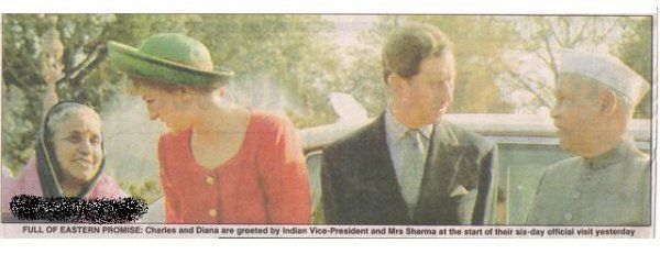 February 10 1982 Charles and Diana are welcomed by The Vice President of India and Mrs Sharma