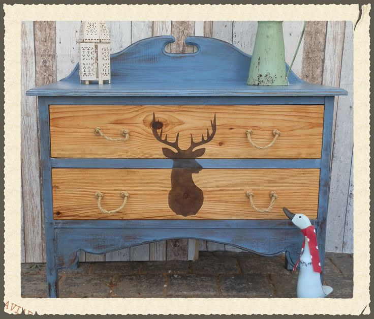 How To: Stags Head Dresser   #rusticboutique #missmustardseedfrench enamel. #barleycornvintagestencils #stagsheadstencil #upcycling