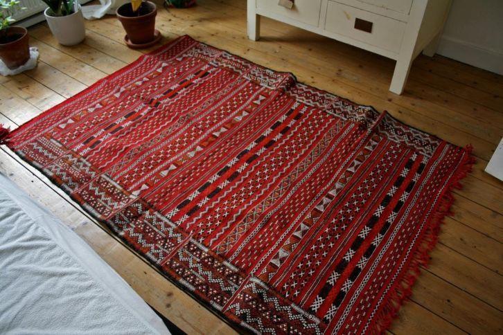 Handgemaakt wollen tapijt Berber Marokko tribalprint