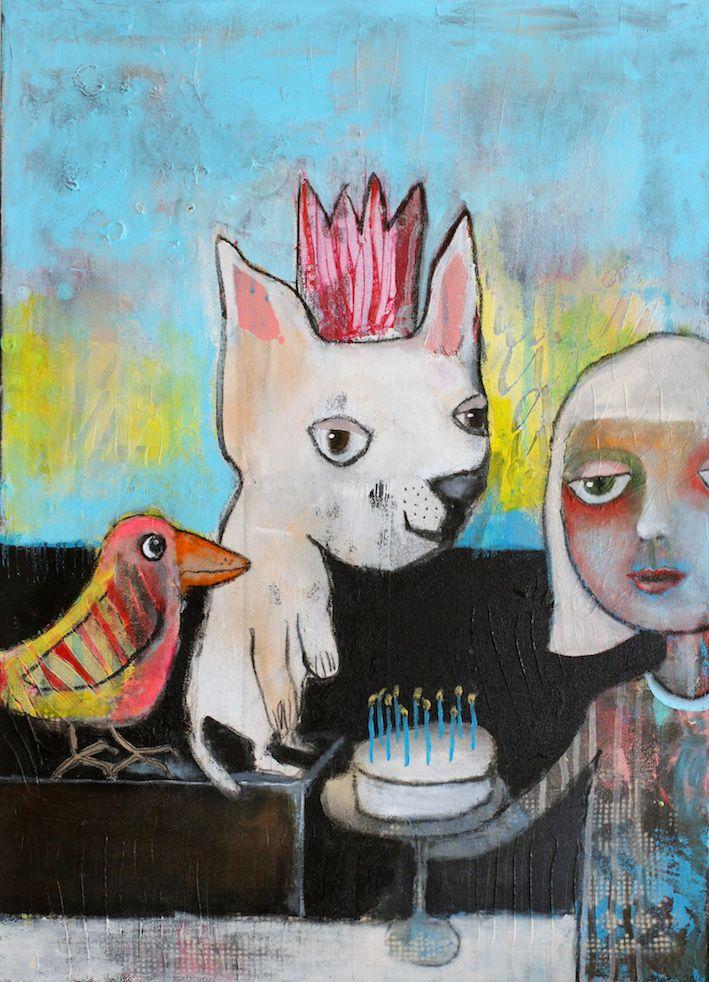 """Kari Anne Marstein - kunst og kreativitet - Norwegian artist - acrylic painting on canvas """"Fest"""" Art Kunst"""