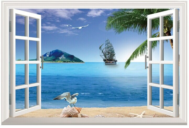 Paradise sunshine beach 3 d window view removable wall for Beach window mural