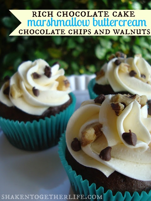 shaken together: {taste this} rocky road cupcakes with marshmallow buttercream