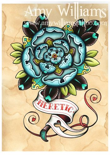 Blue Geometric Tudor Rose Heretic Tattoo Art A3 Print by amybird, £20.00